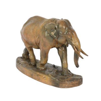 """""""Le rat et l'éléphant"""" - sculptură decorativă, realizată de Ytiga Noumata din ceramică pictată cu email, 1913, piesă de colecție"""