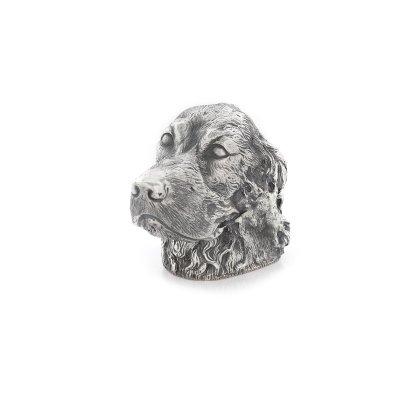 Brichetă din argint, în forma unui cap de câine