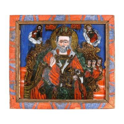 """Icoană pe glajă, """"Sfântul Nicolae făcătorul de minuni, tronând"""", ramă pictată, atribuit zugrav Elena sau Elisabeta Morar, Săliștea, Sibiu, ultimele decenii ale sec. XIX"""