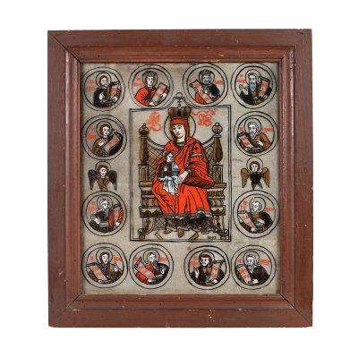 """Icoană pe glajă, """"Maica Domnului cu Pruncul - Împărăteasă și 12 Prooroci din Vechiul Testament"""", atelier din Săliște, Sibiu, 1843"""