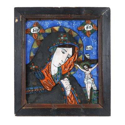 """Icoană pe glajă, """"Maica Domnului Îndurerată"""", atribuit zugrav Nicolae Oancea din Vale, Mărginimea Sibiului, jumătatea sec. XIX"""