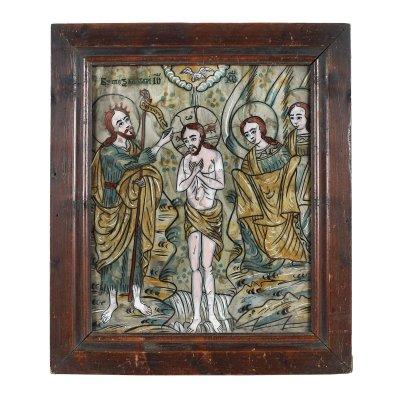 """Icoană pe glajă, """"Botezul Domnului"""", atribuit zugrav Nicolae Oancea din Vale, Mărginimea Sibiului, jumătatea sec. XIX"""