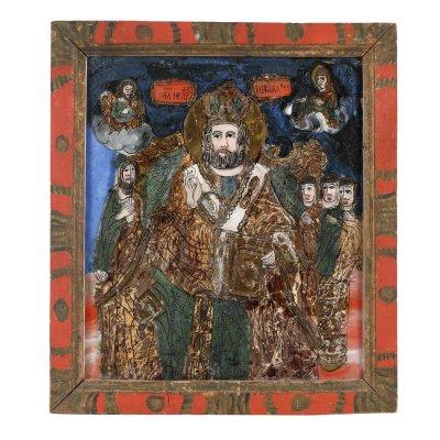 """Icoană pe glajă, """"Sfântul Nicolae"""", ramă pictată, atribuit zugrav Ion Morar, Săliștea, Sibiu, a doua jumătate a sec. XIX"""
