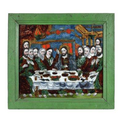 """Icoană pe glajă, """"Cina cea de Taină"""", atribuit zugrav Ion Morar, Săliștea, Sibiu, a doua jumătate a sec. XIX, piesă rară, de colecție"""
