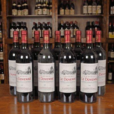 Lot de vinuri Château Le Doyenne, Premières Côtes de Bordeaux, 1997, 9st x 0,75l