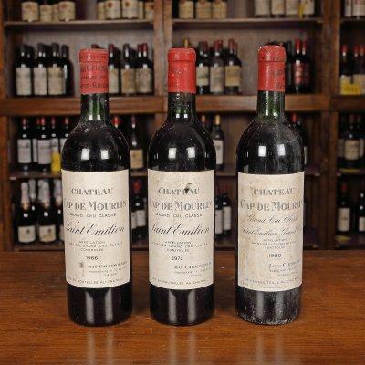Colecție de vinuri Château Cap de Mourlin, Saint-Émilion Grand Cru Classé, 1966/1972/1986, 3st x 0,75l