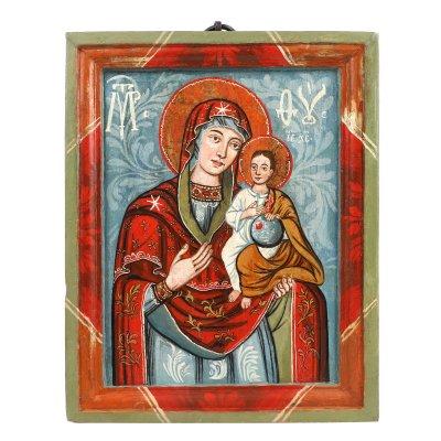 """Icoană pe lemn, """"Maica Domnului cu Pruncul (Hodighitria), ramă pictată, școală transilvăneană (atelier din Mărginimea Sibiului), a doua jumătate a sec. XVIII, de colecție"""