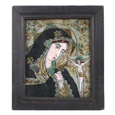"""Icoană pe glajă, """"Maica Domnului Îndurerată"""", atribuit zugrav Nicolae Oancea din Vale, Mărginimea Sibiului, deceniile de mijloc sec. XIX"""