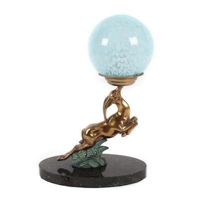 """""""Gazelle"""" - lampă de masă Art Deco, design posibil Max le Verrier, din sticlă stratificată Verrerie de Clichy, bronz aurit și pictat cu email, cca. 1930"""
