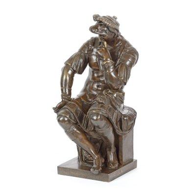 """""""Lorenzo de Medici"""" - sculptură John Walz din bronz, realizată după original de Michelangelo, cca. 1850"""