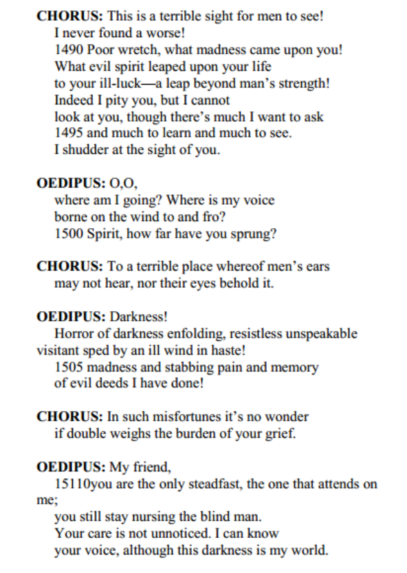 "essay on blindness in oedipus Free essay: blindness plays a two-fold part in sophocles' tragedy ""oedipus the king' first, sophocles presents blindness as a physical."