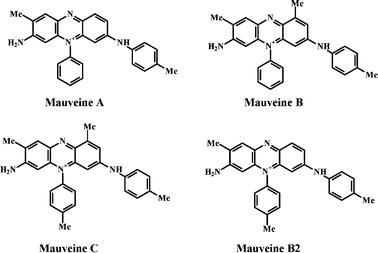 Chemical structures of mauveines A, B, B2 and C.