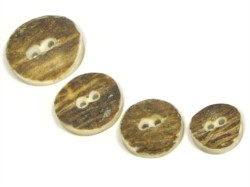 Natural horn buttons, traditional antler buttons and designer engraved buttons.