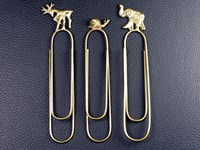 Set of Three Animal Brass Paperclips