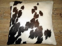 Cow Hide Cushion - Brown & White