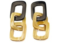 Square Links Horn Earrings