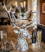 Large Punch Bowl With Stags Head Stand