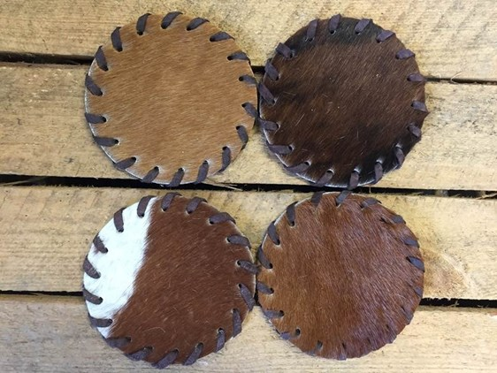 Cow Hide Coasters - Pack of 4