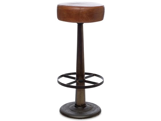 Aged Leather Black Iron Frame Bar Stool
