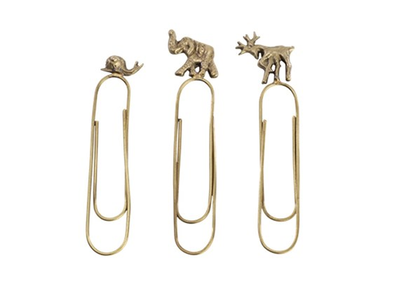 Set of Three Animal Brass Paperclips | Snail, Deer & Elephant