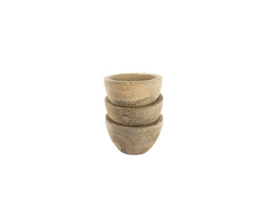 Set of Three Mini Mango Wood French Artisan Bowls