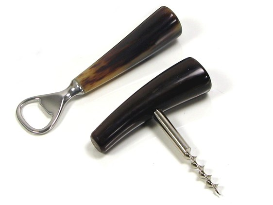 Corkscrew & Bottle Opener Two Piece Cow Horn Bar Set