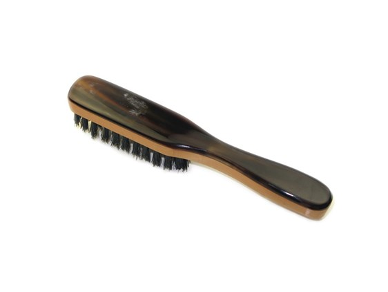 Pearwood & Horn Beard Brush | Boar Bristled Horn Beard Brush