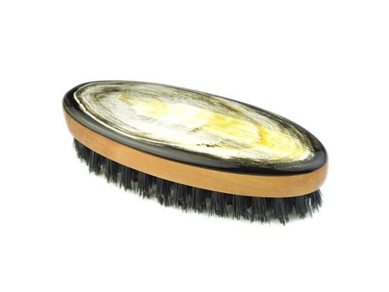 Oval Pearwood & Horn Beard Brush | Wild Boar Bristles