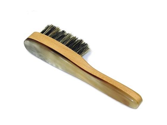 Horn Beard Brush With Handle | Boar Bristled Horn Beard Brush