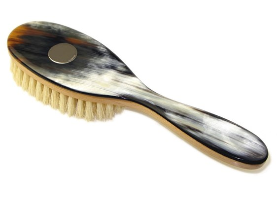 Cow Horn Backed Horn Childs Brush with Silver Disc | Goat Bristles & Silver Disk