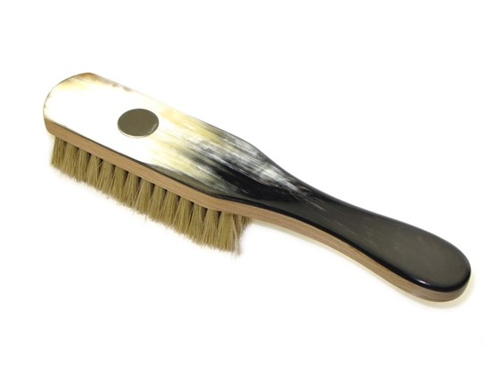 Cow Horn Clothes Brush With Handle with Silver Disc | Hog Bristle & Silver Disc
