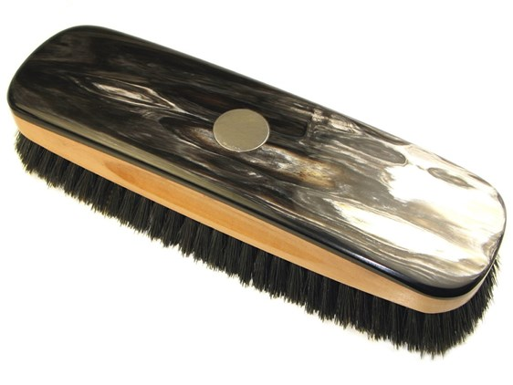 Large Cow Horn Backed Clothes Brush With Silver Disc