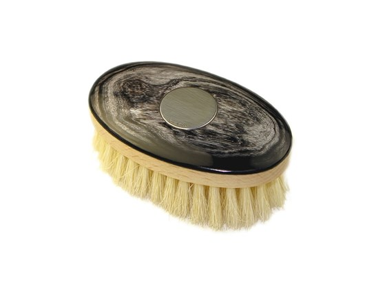 Cow Horn Boar Bristle Face Brush with Silver Disc | Silver Disk Embossed