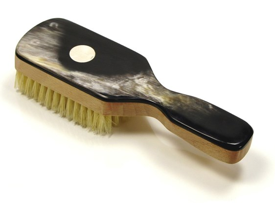 Beechwood & Horn Handle Hair Brush with Silver Disc | Silver Disc Embossed