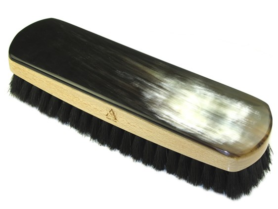 Oxhorn Backed Shoe Brush - Rectangular- Large - Dark