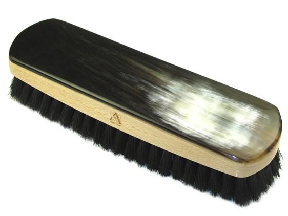 Oxhorn Backed Shoe Brush - Rectangular- Large - Dark