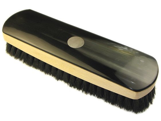 Large Rectangular Horn Backed Dark Shoe Brush | Silver Disk Embossed
