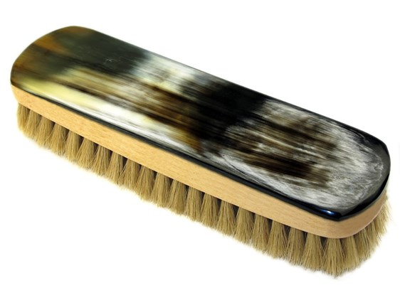 Large Rectangular Horn Backed Light Shoe Brush