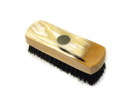 Small Rectangular Horn Backed Dark Shoe Brush with Silver Disc | Silver Disc Embossed