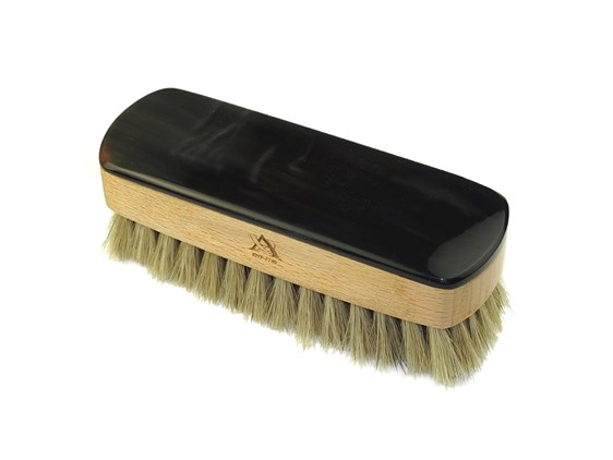Small Rectangular Horn Backed Light  Shoe Brush