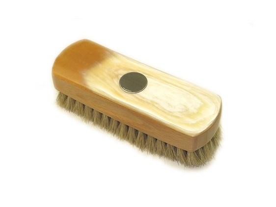 Small Rectangular Horn Backed Light Shoe Brush with Silver Disc | Silver Disc Embossed