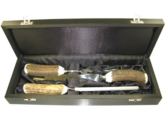 Boxed Three Piece Polished Stag Antler Handle Carver Set