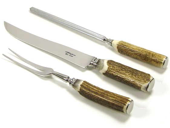 Three Piece Polished Stag Antler Handle Carver Set