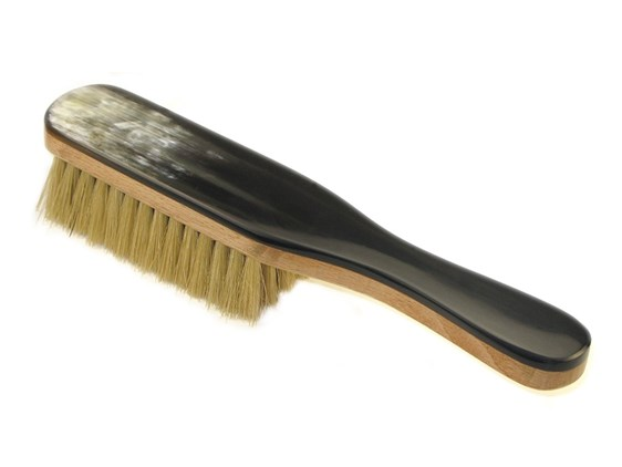 Cow Horn Clothes Brush With Handle   Beechwood & Hog Bristles