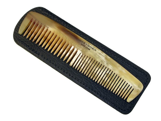"5"" Horn Comb & Leather Case 