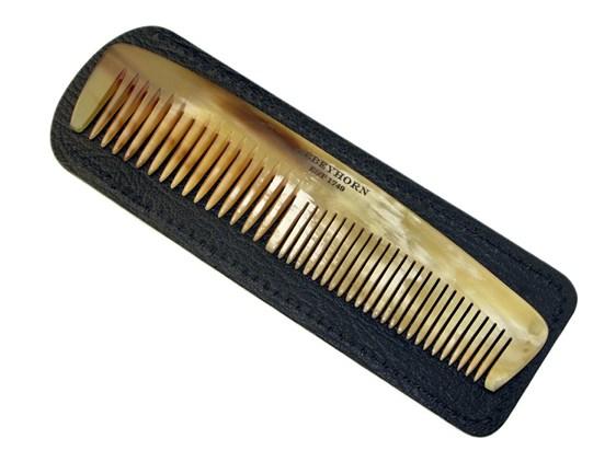 "5"" Horn Comb & Leather Case | Horn Comb & Case Set"