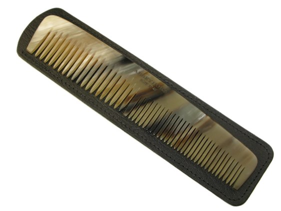 "6 1/2"" Horn Comb & Leather Case | Horn Comb & Case Set"