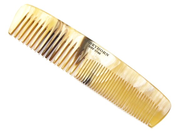 """5"""" Cow Horn Comb with 2 Different Sized Teeth 
