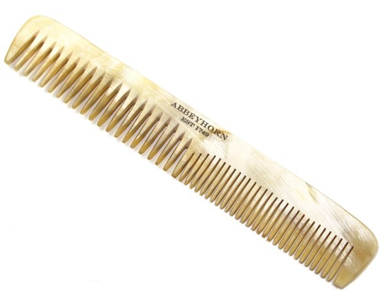 Cow Horn Thin Double Tooth Comb | Square ladies horn comb