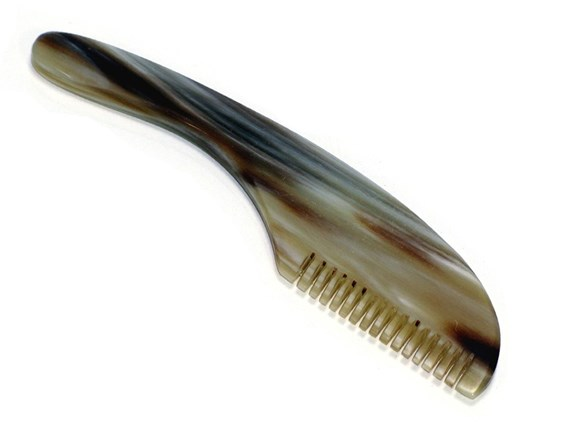 Rounded Handled Cow Horn Moustache Comb